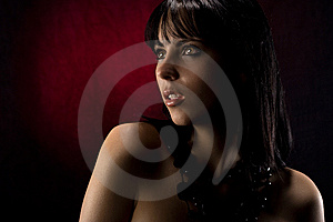 Beautiful Model With Red Background Royalty Free Stock Photo - Image: 6479865