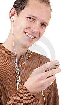 Young Caucasian Man Listening To Music Royalty Free Stock Images - Image: 6481739