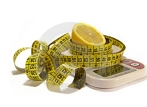 Lemon And Tape Measure Isolated On White Royalty Free Stock Images - Image: 6481899
