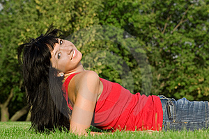 Woman Rest On The Grass Stock Photography - Image: 6482232