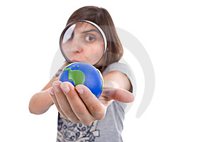 Young Woman Holding Small Earth Globe Royalty Free Stock Image - Image: 6482606