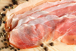 Pepper Grains And Slices Of Ham Stock Photos - Image: 6483543