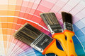 Brushes and color guide Stock Images