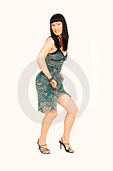 Standing Woman In Green Dress. Stock Photo - Image: 6492350