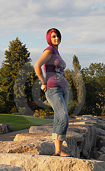 Girl Standing On Lakeshore. Royalty Free Stock Photos - Image: 6492458