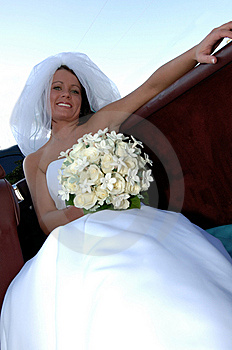 Happy Young Bride In Convertible Stock Photo - Image: 6492800