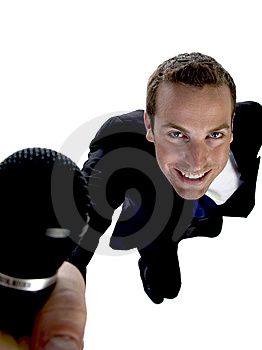 Businessman Showing His Mic Royalty Free Stock Photo - Image: 6496525