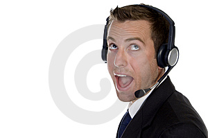 Surprised Businessman With Headphone Stock Photo - Image: 6498310