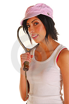 Attractive Latino Woman With Racquetball Racquet Royalty Free Stock Image - Image: 6499866