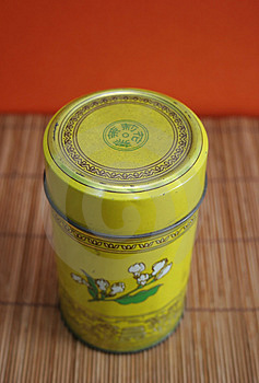 Old Chinese Tea Tin On Bamboo - Copy Space Stock Photos - Image: 650553