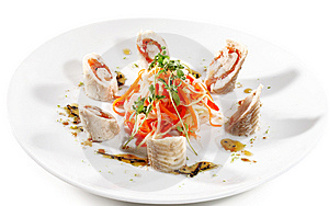 Julienne Vegetables And Prepared Fish Stock Image - Image: 6500761