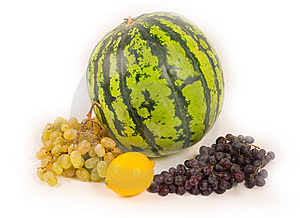 Watermelon And Grapes With Lemon Stock Photo - Image: 6501720