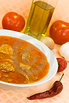 Stew-goulash Soup -with Red Bell Pepper And Cubes Stock Photos - Image: 6505083
