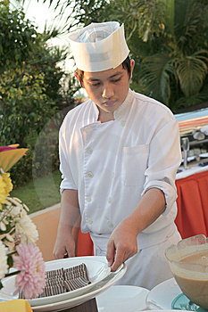 Chef At Buffet Royalty Free Stock Photography - Image: 6508157