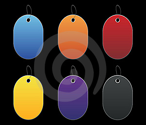 Colored Tags - 6 - On Black Stock Photos - Image: 6512503