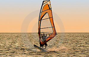 Silhouette Of A Windsurfer Royalty Free Stock Image - Image: 6520056