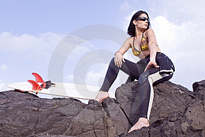 Pretty Surfer Girl Waiting For Waves Royalty Free Stock Photography - Image: 6522427