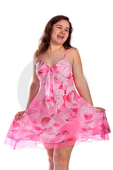 Curly Girl In Pink Dress Posing Royalty Free Stock Photos - Image: 6525278