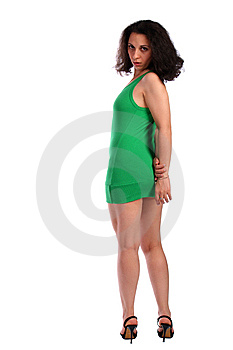 Curly-headed Brunet Girl Half-turned Stock Photos - Image: 6525283