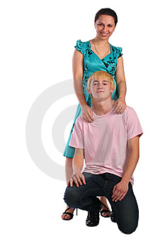 Young Woamn Stand Behind Young Man Siting On Knee Royalty Free Stock Photo - Image: 6525315