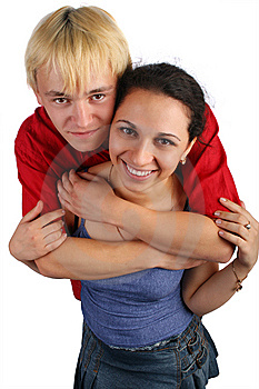 Young Couple Embraces Top View Royalty Free Stock Photos - Image: 6525398
