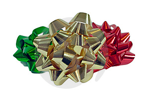 Three Colorful Christmas Bows Royalty Free Stock Images - Image: 6525509