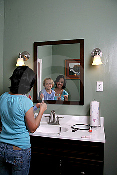 Two Girls Looking Into Mirror With Makeup Stock Photo - Image: 6526770