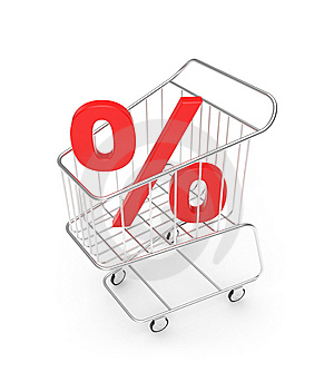 Shopping cart with percent sign Royalty Free Stock Photos