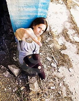 Tough Grunge Woman Royalty Free Stock Images - Image: 6531019