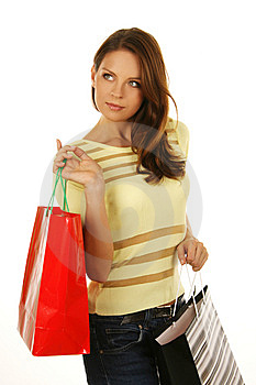 Beautiful Girl With Shopping Bag Royalty Free Stock Photography - Image: 6531777
