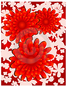 Floral Background On White Royalty Free Stock Image - Image: 6537706