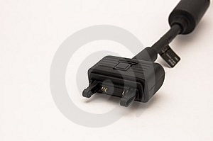 Black Cellphone's Cable Stock Image - Image: 6538601