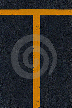 Yellow Marking On Black Asphalt Stock Images - Image: 6546654