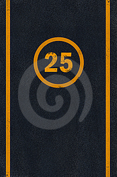 Yellow Marking On Black Asphalt Royalty Free Stock Images - Image: 6546729