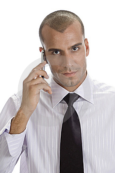 Man With Mobile Looking To Camera Stock Photography - Image: 6550172