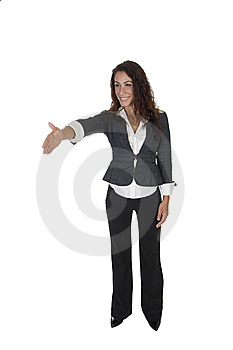 Standing Lady Offering Hand Shake Stock Images - Image: 6550324