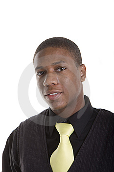 Young Black Man in Yellow Tie Royalty Free Stock Photography