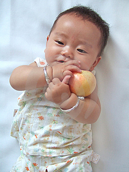 Pretty Baby And Red Apple Royalty Free Stock Images - Image: 6557879