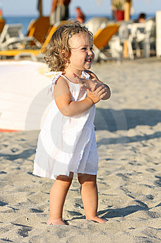 Girl At Beach In The Sea Stock Image - Image: 6559691