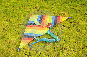 The Colorful Cloth Kite On   Meadow. Royalty Free Stock Image - Image: 6567906