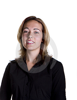 Blonde In Black Shirt Nice Smile Royalty Free Stock Photo - Image: 6568205