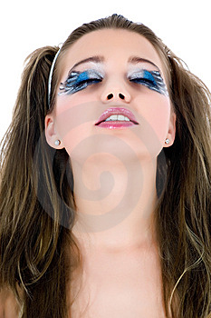 Girl With Face-art Butterfly Paint Stock Photo - Image: 6573960