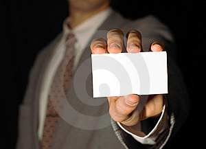 Business Man Holding Visiting Card Stock Image - Image: 6574631