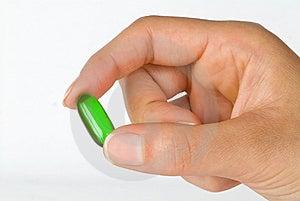 Sostener Una Vitamina Verde Del Gel Imagenes de archivo - Imagen: 6575524