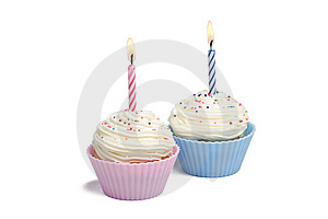 Two Cupcakes with Candle Stock Photography