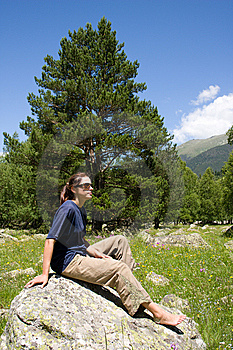 Barefoot Girl Sitting On Big Stone Stock Photo - Image: 6578640