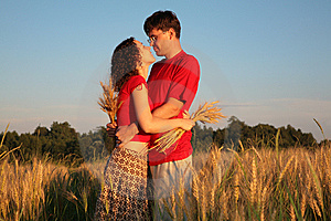Romantic Pair Embraces On Wheaten Field Stock Images - Image: 6578994