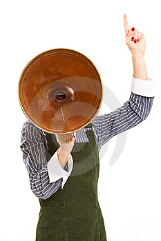 Business woman shouting into a megaphone Stock Photography