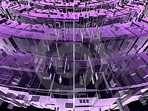 Violet And Pink Circular Transparent Constructions Royalty Free Stock Photography - Image: 6579897