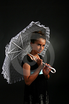 Pretty Young Girl With White Parasol Stock Image - Image: 6580681